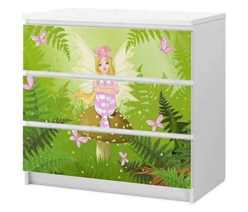 Set Möbelaufkleber für Ikea Kommode MALM 3 Fächer/Schubladen Kinderzimmer Cartoon Elfe Fee Wald grün Kat2 Schmetterlinge rosa Märchen ML3 Aufkleber Möbelfolie sticker (Ohne Möbel) Folie 25C2572