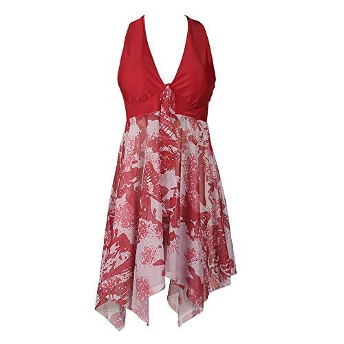 Jmsc Damen Beach Swimsuit Badeanzug Damen Elegante Tankini V Ausschnitt Bademode Bikini Blumen Muster Swim Kleid Neckholder Badekleid Chiffon Beachwear Badeanzug 5XL