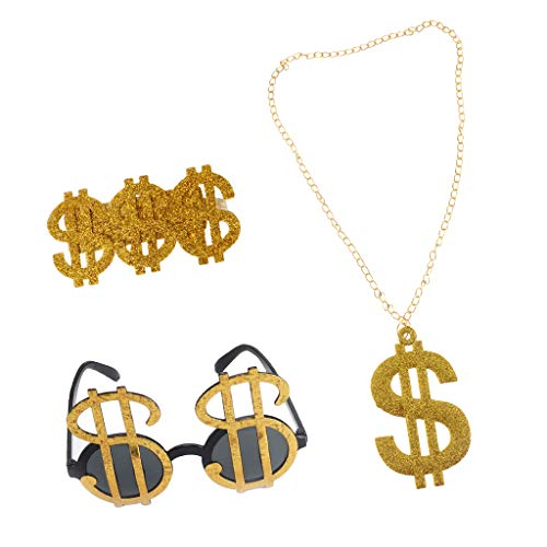 Harilla 3 Pieces US Dollar Signs Glasses Necklace 80s Rapper Big Daddy Costume