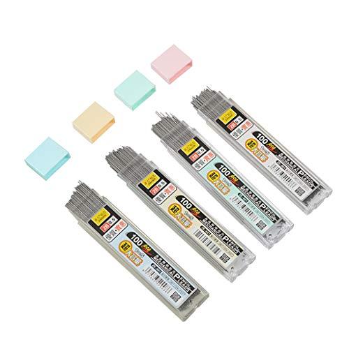 ECMQS 100pcs/caja, Mina de Grafito, 2B, 0.5mm/0.7mm, lápiz mecánico, Recarga, plástico, Mina lápiz automático, Negro, 0.5mm