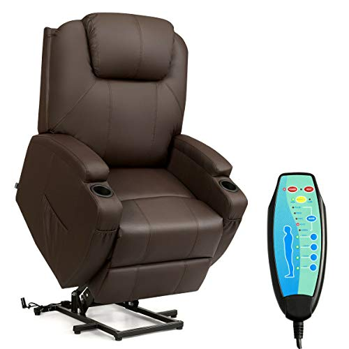 Tangkula Power Lift Recliner Chair with Massage and Heat for Elderly, PU Leather Heated Vibrating, with Cup Holders, Side Pouch, Remote Control, for Home Theater, Power Theater Chair
