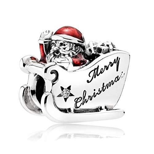 LILIANG DIY Winter Sleighing Santa Beads para Plata 925 Original Charms Pulseras Feliz Navidad Red Enamel Charm Beads para La Fabricación De Joyas