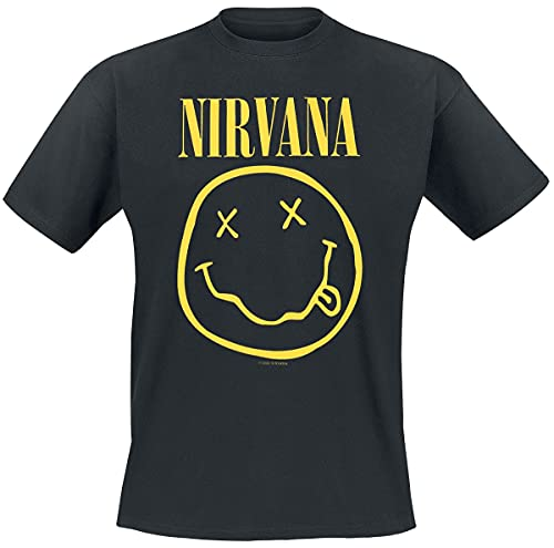 Nirvana Smiley Homme T-Shirt Manches Courtes Noir 5XL, 100% Coton, Regular/Coupe Standard