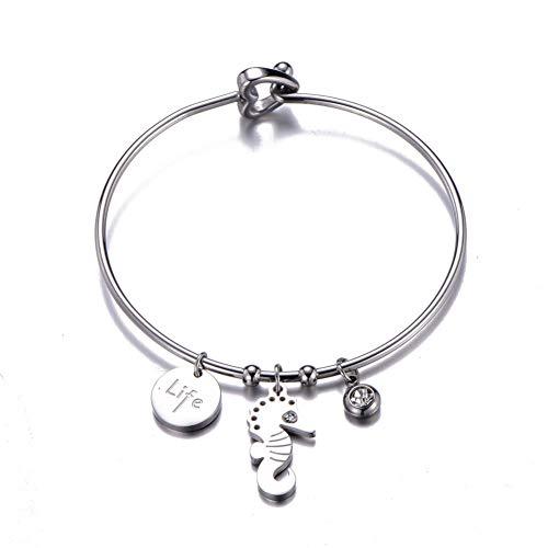 Fnito Armband Mode Seepferdchen Armbänder für Frauen Kristall Charme Armbänder Armreifen Edelstahl Böhmen Mädchen Schmuck Geschenk Geschenk