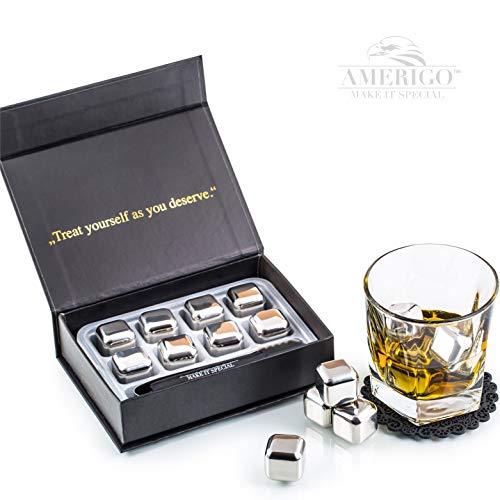 Exklusives Edelstahl Whisky Steine Geschenkset – Hohe Kühltechnologie - 8 Whisky Eiswürfel Wiederverwendbar - Edelstahl Eiswürfel - Besondere Geschenke für Männer - Edelstahl Kühlstein von Amerigo - 3