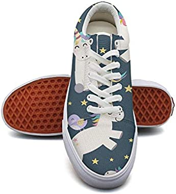 fvnoui Womanunicorn Stars Canvas Shoes Low-Cut Straps Funky Sneakers Suitable for Walking