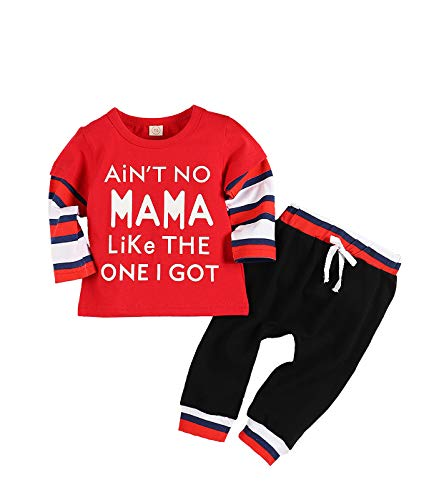 Baby Jungen Kleidung Langarm bedruckt Lady Killer Top Hoodie und Camouflage Hose Infant Outfits Set Gr. 92, rot