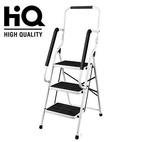 Escalera de 3 peldaños, acero resistente, plegable, portátil con pasamanos de seguridad y pasadores de goma antideslizantes, virolas de goma moldeadas antideslizantes, capacidad de carga de 150 kg