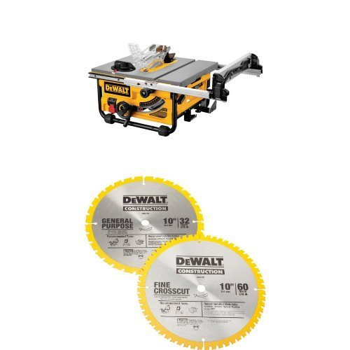 DEWALT DW745 10-Inch Compact Job-Site Table Saw with 20-Inch Max Rip Capacity - 120V w/  DW3106P5 60-Tooth Crosscutting and 32-Tooth General Purpose 10-Inch Saw Blade Combo Pack