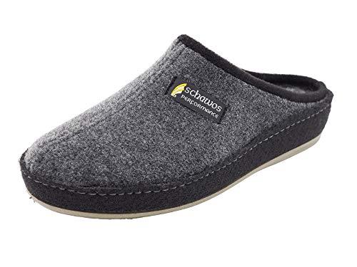 Schawos Filz Hausschuh für Herren, Qualitäts-Pantoffel, Made in Germany, mit anatomisch geformtem Fußbett und aktiver Fersendämpfung, Modell: Pantoffel ungefüttert (Grau (24D), 42 EU, numeric_42)