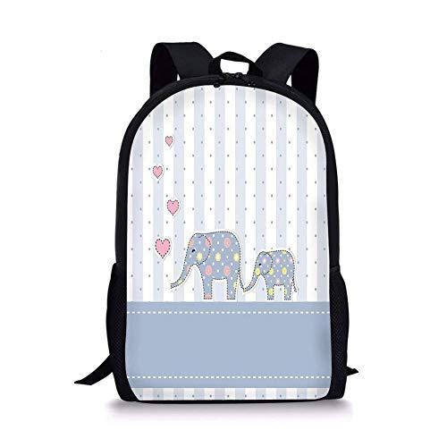 JINGS Schultaschen Elefanten Kinderzimmer Dekor, Baby-Dusche-Thema Fröhlich Neugeborene Feier Pastellfarben Gestreift, Mehrfarbig für Jungen Mädchen Herren Sport Daypack