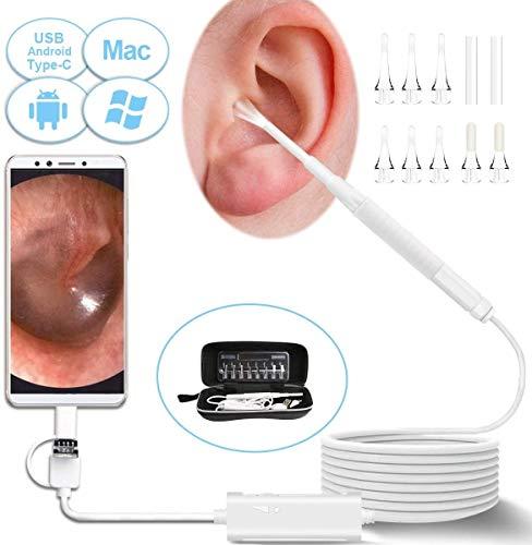 Otoscopio USB, Otoscopio Digitale Fotocamera Ultrasottile da 3,9 mm, Endoscopio Ispezione dell\'orecchio 720P Campo visivo di rimozione cerume e 6 luci LED regolabili per Android, Windows, Mac