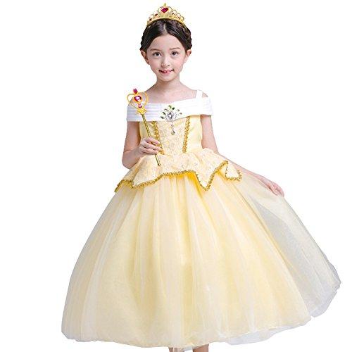 FYMNSI Kinder Belle Kostüm Kleid Mädchen Die Schöne und das Biest Märchen Prinzessin Cosplay Fasching Verkleidung Halloween Weihnachten Ankleiden Geburtstag Party Ballkleid Schulterfrei Gelb 2-3 Jahre