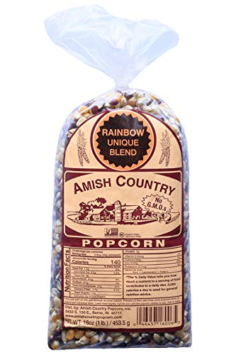 Amish Country Popcorn | 1 lb Bag | Rainbow Popcorn Kernels | Old Fashioned with Recipe Guide (Rainbow - 1 lb Bag)