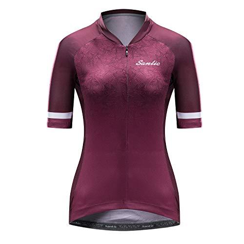 Santic Radtrikot Damen Kurzarm Fahrradtrikot Damen Fahrradshirt Radshirt Kurzarm Sommer mit Taschen Violett EU M