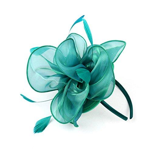 Plumas Banda para la cabeza Banda para la cabeza hecha a mano de organza para cabello de boda Accesorio Tocado (verde)