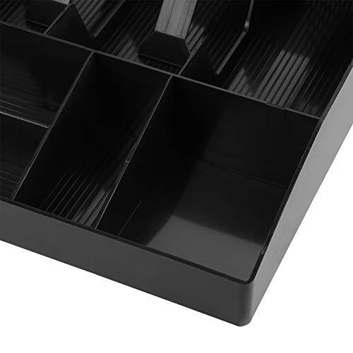 Cuatro compartimentos para billetes que funcionan bien Cajón de efectivo de alta calidad, bandeja de efectivo, duradero para sellos de caja chica(black, 12)