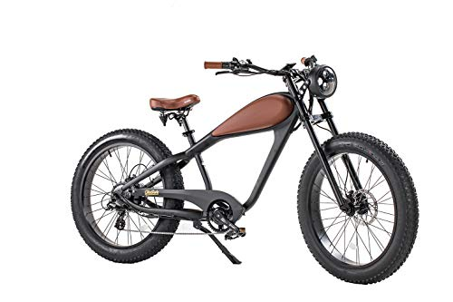 Cheetah Mountain Bikes The Cafe Racer 48V/750W for Adult and Youth 28 MPH 26 inch Beach Bikes 13Ah/17.5Ah with Color LCD Display Range 25-45 Miles (Night Black, 17.5Ah)