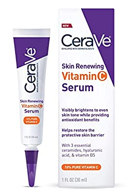 L'oreal Skin Brightening Serum for Face 10% Pure Vitamin C | Fragrance Free | 1 Fl. Oz | Cerave Serum with Hyaluronic Acid