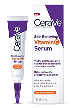 CeraVe Vitamin C Serum with Hyaluronic Acid | Skin Brightening Serum for Face with 10% Pure Vitamin C | Fragrance Free | 1 Fl Oz