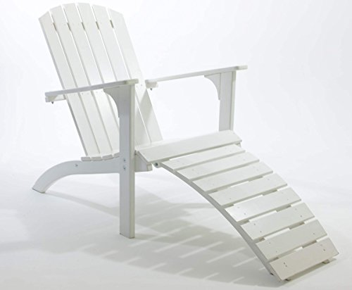 Ambientehome Adirondack Chair Deckchair Liege Gartenliege Massivholz inkl. Fussteil FALUN, Weiß