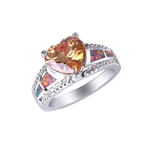 Anillos KELITCH para mujer, anillo apilable de doble línea para niñas, anillo de cuerda trenzada, luna plateada con ópalo azul fuego redondo 54D-8