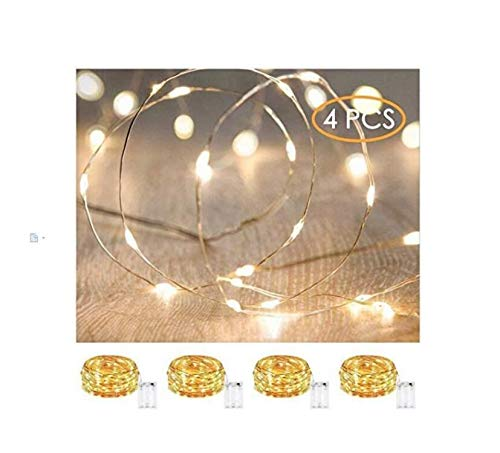 XINKAITE String Lights, Waterproof LED String Lights, Fairy String Lights Starry String Lights for Indoor& Outdoor DIY Decoration Home Parties Christmas Holiday (10ft, Warm White 4pcs)
