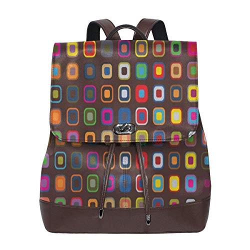 Yuanmeiju Colorful Patterned Women's Leather Backpack Travel Casual Elegant Drawstring Shoulder Bag