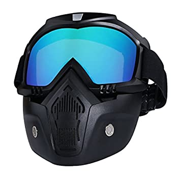 Motorcycle Helmet Riding Goggles Glasses With Removable Face Mask,Detachable Fog-proof Warm Goggles Mouth Filter Adjustable Non-slip Strap Vintage Bullet Fight Motocross  colorful