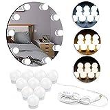 Luces LED para espejo de tocador, kits de luces de maquillaje de tocador estilo Hollywood, brillo ajustable de 10 niveles y cambio de 3 colores