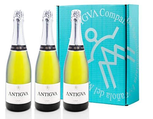 ANTIGVA Blanc de Blancs Cava Brut Nature - Vino Espumoso Premium - D.O. Cava - Alt Penedés - Estuche 3 Botellas x 750 ml