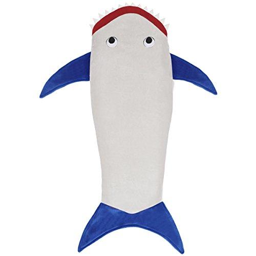 EZESO Manta de cola de tiburón, saco de dormir con doble cara, suave y cómodo, saco de dormir de Navidad, regalo de cumpleaños para niños y adolescentes