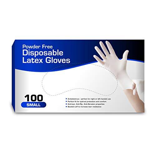 New Disposable Latex Gloves, Powder Free (100 Gloves Per Box) (Small)