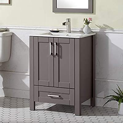 ENGELCH (Light Gray) Modern Small 24 Inch 2 Doors Stand Gray Bathroom Vanity, Storage Cabinet with Single Hole Ceramic Vessel Basin Top Vanity Sink Combo