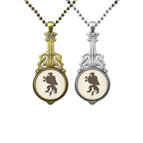 Europ Animals National Emblem Gepard Musik Gitarre Anhänger Schmuck Halskette Anhänger Paar