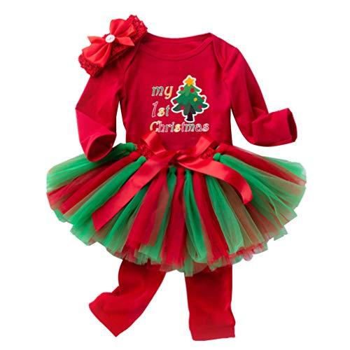TENDYCOCO Baby Girl My First Christmas Outfit Tutu Skirt Romper Headband Leg Warmer 4Pcs