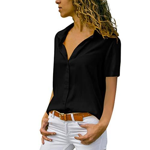 Vimoli Blusen Damen beiläufiges Revers Neck T-Shirt Kurzarm Schnalle Bluse Chiffon Asymmetrie Tops Einfarbig(Zc Schwarz,M)