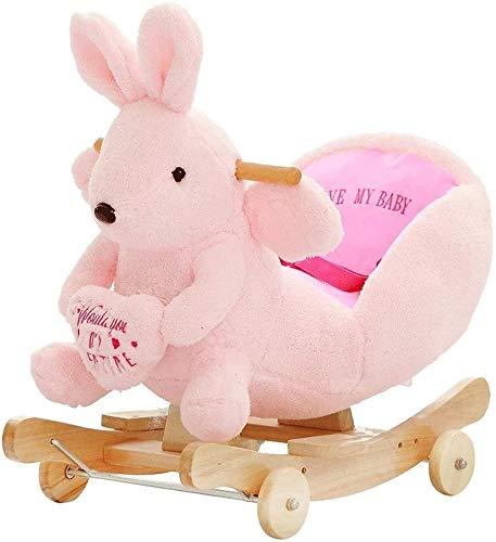 Bck Caballo de oscilación de los niños 2 en 1 conejo de madera infantil del bebé del niño de dibujos animados Rocker mecedora de juguete de regalo Animal cubierta patio al aire libre Jardín Ki