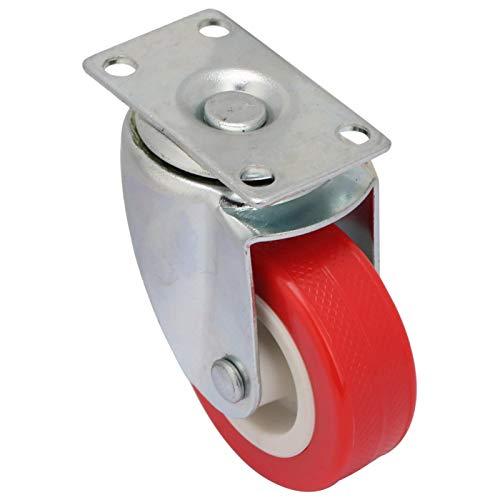 Rueda giratoria de 2 pulgadas, resistente al desgaste, PVC, acero, rojo, para sillas de oficina
