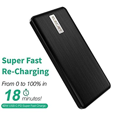 ELECJET Graphene Power Bank Super Fast Charging   Apollo Traveller   18 Minute Recharge   30W PD PPS QC 3.0 Output   Dual Fast Charging USB C + USB A   Portable Charger External Battery