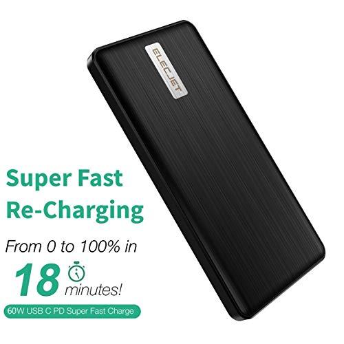 ELECJET Batería Externa de grafeno de Carga rápida | Apollo Traveller | 18 Minutos de Recarga | USB C PD & QC 3.0 | Salida 3 A 45 W | Entrada 60 W | Cargador portátil batería Externa