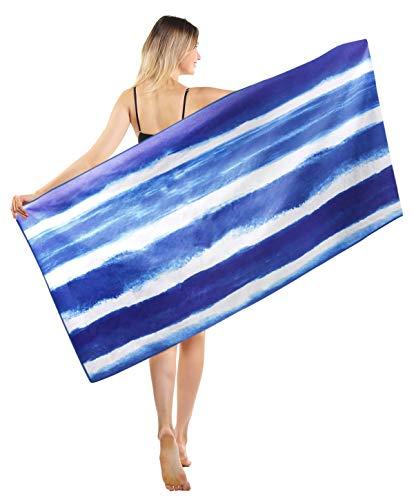 Toallas de Playa Grandes de Antiarena de Microfibra para Hombre Mujer, 186x90cm, Toallas Baño Calidad Gigante Secado Rapido Piscina, Manta Playa, Toalla Yoga Deporte Gimnasio, Azul Rayas Tie Dye