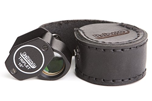 "BelOMO 10x Triplet Loupe Magnifier with LEATHER CASE. 21mm (.85"") Folding Magnifier"