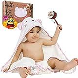 KPRICE Baby-Badekappe mit Kapuze 90x90, Handtücher 100% Bambus Ultraweicher Flanell, absorbierend, Junge und Mädchen, Lieferung mit 1 kleinen Gesichtshandtuch, Badeausgang (Rosa Bär)