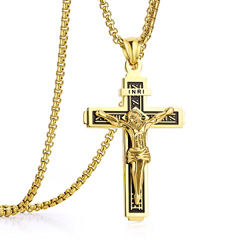Jesus Christ on INRI Crucifix Stainless Steel Cross Pendant Necklace for Boys Men Women 24' Chain Gold