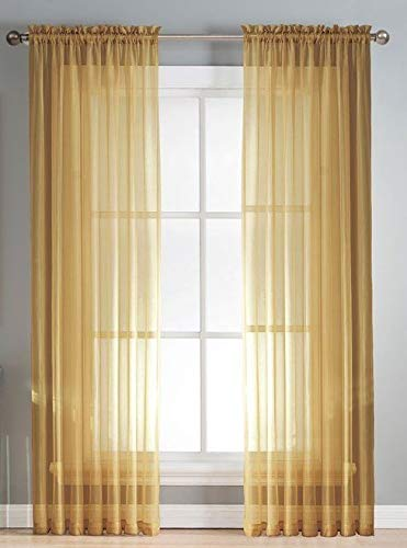 """2 Panels Window Sheer Curtains 54"""" x 63"""" Inches (108"""" Total Width), Voile Panels for Bedroom Living Room, Rod Pocket, Decorative Curtains, Solid Sheer Curtains Gold"""