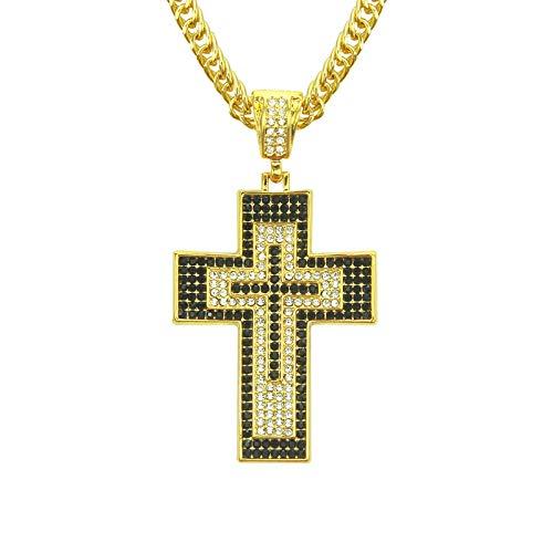 N \ A Collar de Cruz para Hombre, Colgante de Cruz Grande de Diamantes de imitación en Blanco y Negro con Diamantes, Cadena de 32 Pulgadas, Novios y maridos, Regalos para Hombres