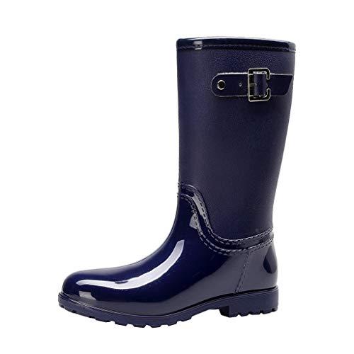 MOTOCO wasserdichte Damen Regenstiefel Easy On & Off Half Length Knöchel-Gummistiefel für Damen(38 EU,Blau)