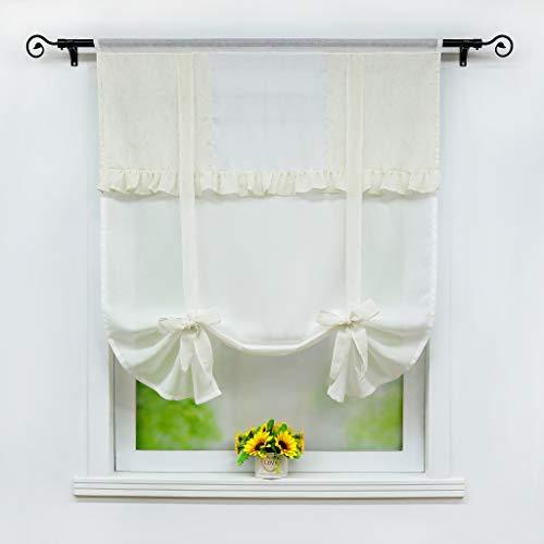 Joyswahl Bindegardine Raffrollo schöne Fertig Gardine transparente Raffrollo mit Faltenblende Bändchenrollo BxH 120x140cm