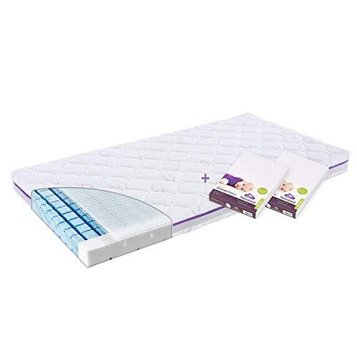 Träumeland Set Matratze Brise 60 x 120 + 2 Spannbetttücher Jersey weiß